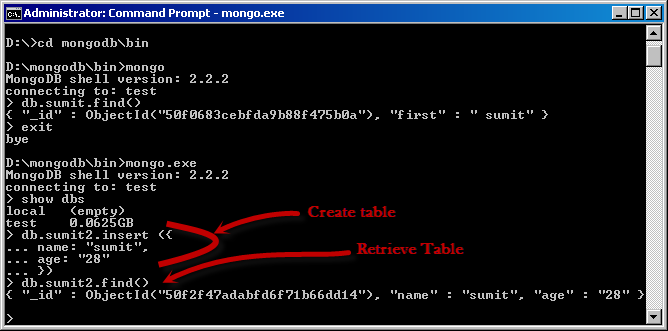 MongoDB - Insert and retrieve statements