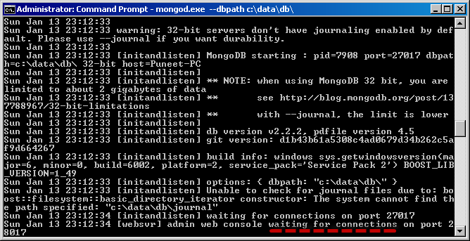Running the Mongo DB